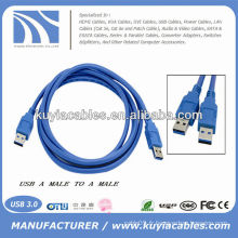 HIGH SPEED Bleu AM TO AM Male to Male 3.0 USB Data CABLE 1.8m 6ft