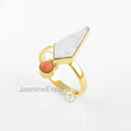 18k Gold White Howlite Ring, Beautiful Red Coral Multi Gemstone Ring Jewelry