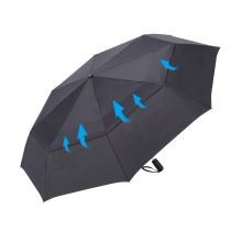 Windproof Lady Solid Color Double Layer Transfer Printing Three Folding Umbrella