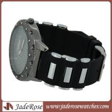Metall verbundenes rotes Silikon-Band-Mode-Genf-Uhr