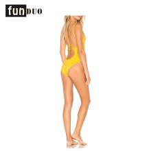 Natación amarilla desgaste mujeres sexy vestido de playa de una pieza Natación amarillo desgaste mujeres sexy vestido de playa de una pieza
