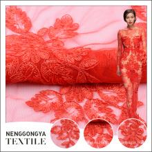 Elegante diseño tul rojo elástico tela de encaje para la decoración de la boda vestido