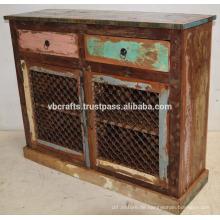 Recycling Schrott Farbe Holz Eisen Jali Panel Anrichte