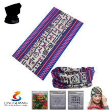 LSB-033 Ningbo Lingshang 100% poliéster pescoço tubo multifuncional personalizado bandana sem costura
