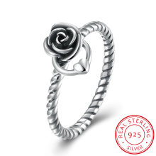 925 Sterling Silver Classicl Design Rose Shape Heart Ring Fashion Jewelry
