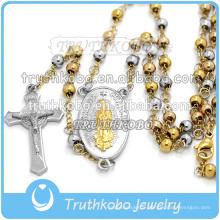 Vierge Marie marie et Jésus croix pendentifs en acier inoxydable religieux fait à la main avec collier de chapelet de 4mm