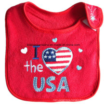 OEM Produce Customized Design Double Layers Cotton Terry Red Embroidered Baby Bibs