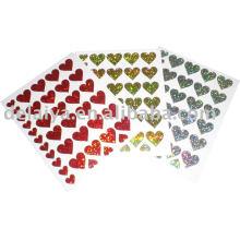 heart-shaped PVC laser Sticker