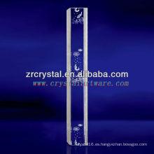 K9 3D Laser Fish Grabado al agua fuerte cristal con forma de pilar