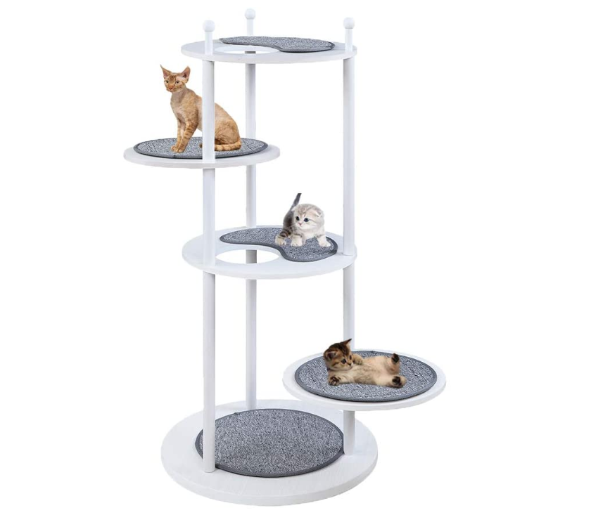 Wooden Cat Activity Tree With 2 Rotatable Platforms
