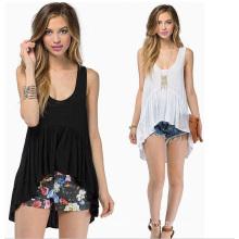 Wholesale Loose Front Short and Long Back Cotton Ladies Blouse