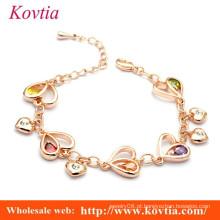 Atacado links charme pulseira birthstone charme pulseira pulseira de link do coração