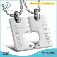Never fade titanium korean matching heart couple necklace