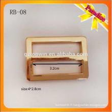RB08 Boucles réglables en métal or métal, prix direct direct, glissière de sangle pour sac scolaire