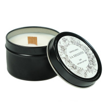 Large Black Tin Box Aromatherapy Candle Soy Wax Essential Oil Holiday Party Gift