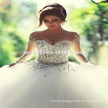 2017 Echte Probe trägerlosen Schatz schweres wulstiges glänzendes Hochzeitskleid 2 Meter Zug Brautkleid Kleid