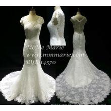 Nouveau style Vintage Robe de mariée à manches courtes Robe de mariée en dentelle sirène BYB-14570