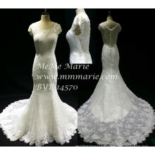 New style Vintage Short Sleeve Wedding Dress Mermaid Lace Top Bridal Gown BYB-14570