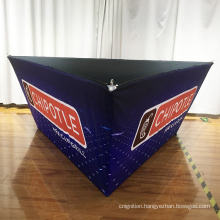 Fabric tube hanging triangle banner for trade show display