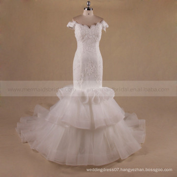 Elegant Mermaid Cap Sleeve Off Shoulder Tiered Chapel Train Ruffle Organza wedding dress