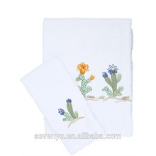 China Manufacturer Luxury Embroidered Cactus towel set HTS-127 wholesale