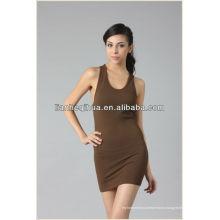 Высокое качество дешевое платье вскользь женщин, лето сексуальное короткое платье безрукавное