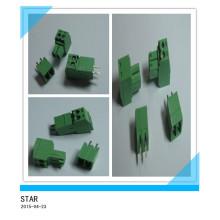 Pino ajustável do ângulo 2 de 3.5mm / tipo tipo conectável verde conector do bloco terminal de parafuso