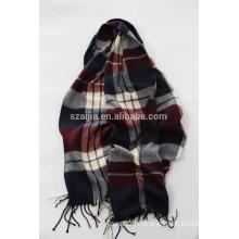 Fashion faux cashmere acrylic plaid long mens scarf