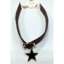 Fashion Jewelry Necklace Choker with Star Charm with Black Enamel