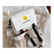 Factory price newest design PU material daisy printed shoulder bag girl's crossbody messenger bag