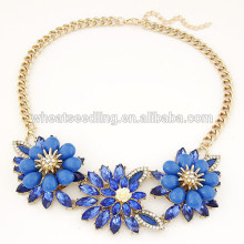 Artificial royalblue gem flower necklace in yiwu China