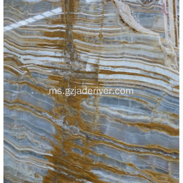 Customized Gold Veins Blue Onyx Marble Stone