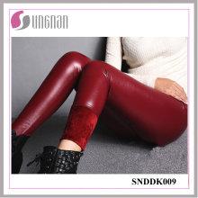 Pantalones de la cintura alta del cuero de la PU de la moda 2015 que engrosan las polainas del paño grueso y suave