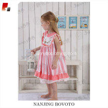 Pink Striped Embroidery flower cute baby dress