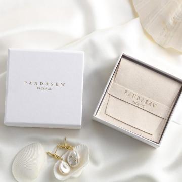 Boîtes à bijoux de collier de bracelet de papier de carton blanc de luxe