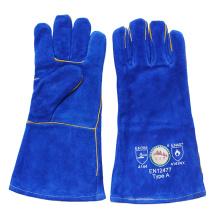 Blue Heavey Duty Cowhide Сплит-кожаные сварные перчатки с кевларовой нитью