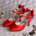 Bowtie가있는 Mid Heels Red Bridesmaid 신발