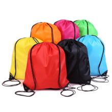 custom colorful polyester drawstring bags outdoor sport gym waterproof storage nylon drawstring bag with logo