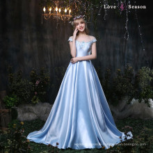 XXLF174 cap sleeves with belt blue satin dress 2017 prom evening dresses