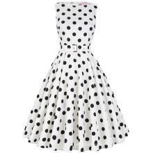 Belle Poque Stock Sleeveless 37 Patterns Cotton Big Black Dot White Vintage Dress 50s BP000002-36