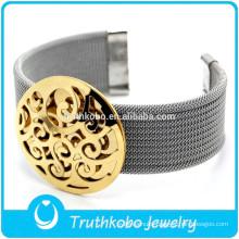 TKB-B0222 Gold Silver Tone Charms Stainless steel Mesh Bracelet