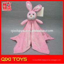 Hot selling pink plush baby blanket with plush bunny toy