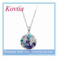 Collier pendentif en cristal bleu et blanc