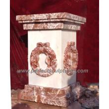 Pedestal de mármol de granito de piedra para decoración de jardín (ba024)