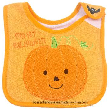 Customized Design Halloween Cotton Terry Embroidered Baby Bandana Baby Wear Bib
