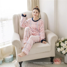 Soft Pajamas Winter Warm Cute Coral Fleece Striped Home Service Suit Autumn and Winter Long-sleeved Ladies Flannel