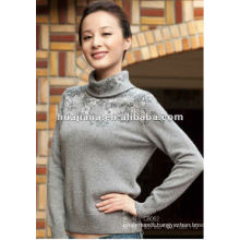 Fashion women turtleneck winter sweater/ Blended cashmere pullover