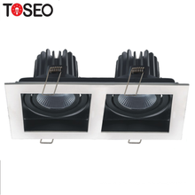 High Quality Double Head Rectangular Ceiling Grid Lighting Fixture Anti-Glare Grille Recessed Led Cob Downlight
