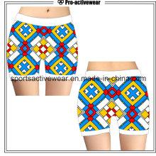 Hot Sale Custom Made Sublimação Impressão Mulheres Polyester Gym Shorts