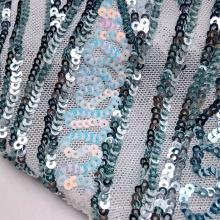 Paillettes extravagantes em tecido de lantejoulas bordadas em malha de poliéster ondulado para vestido de noite